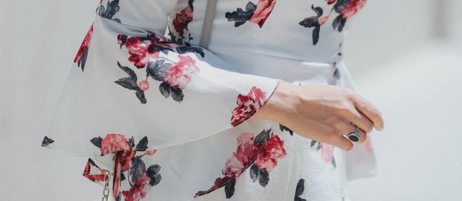 Bell Sleeve Floral Romper